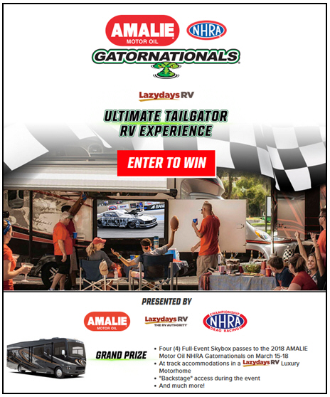 AMALIE Motor Oil and Lazydays RV Partner on NHRA Gatornationals Sweepstakes