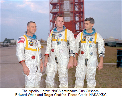 The Apollo 1 crew: NASA astronauts Gus Grissom, Edward White and Roger Chaffee. Photo Credit: NASA/KSC