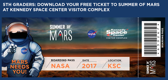 Florida - Fifth Graders Nationwide Offered Free Admission to NASA's Kennedy Space Center Visitor Complex