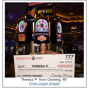Westchester Woman Hits Record-Breaking Jackpot on Wheel of Fortune® Slot Machine at Empire City Casino