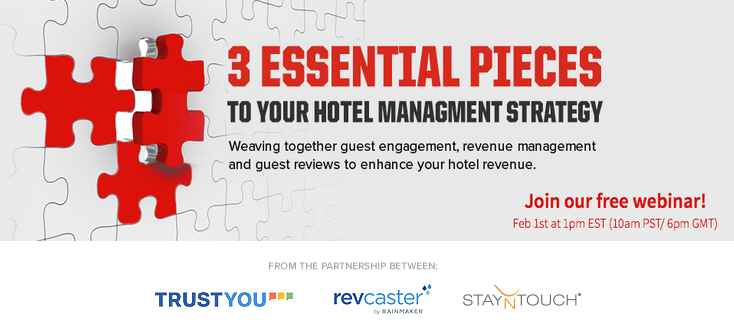 revcaster by Rainmaker Partners with StayNTouch and TrustYou for Hotel Management Strategy Webinar